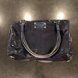 Kate Spade Perforated Navy Patent Leather Satchel